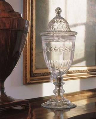 AN ASSEMBLED CUT-GLASS WINE FO