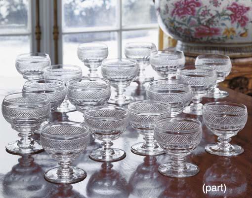 FIFTEEN CUT-GLASS GOBLETS