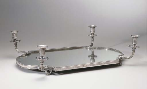 A FRENCH SILVER-PLATED MIRROR