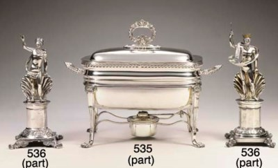A SILVER-PLATED ENTREE DISH ON