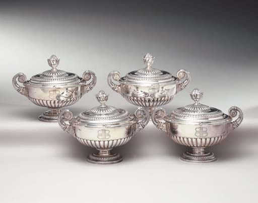 FOUR SILVER SAUCE TUREENS