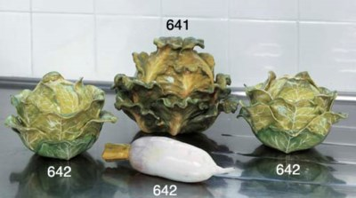 A PAIR OF FAIENCE LETTUCE TURE