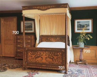 A MAHOGANY AND MARQUETRY BED