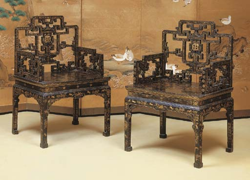 A PAIR OF CHINESE BLACK AND GI