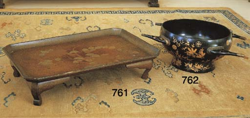 A JAPANESE LACQUER FOOTED TRAY