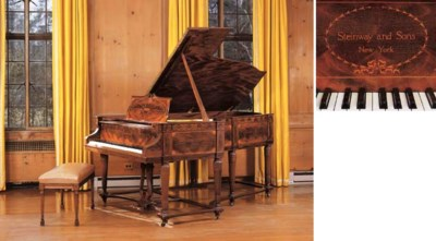 A STEINWAY MAHOGANY AND MARQUE