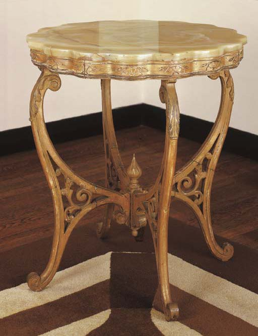 A FRENCH GILT-PAINTED, GRAINED