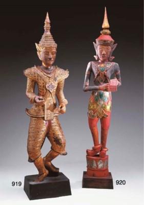 A Burmese Gilt-Wood Dancing Fi