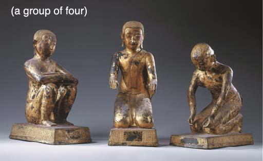 Three Thai Gilt-Lacquered Bron