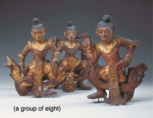 Eight Thai Polychromed and Gil