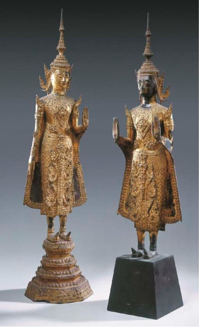 A Pair of Thai Gilt and-Lacque