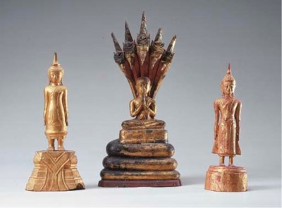 Two Thai Lacquered and Gilt-Wo