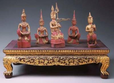 A Set of Thai Five Gilt and Po