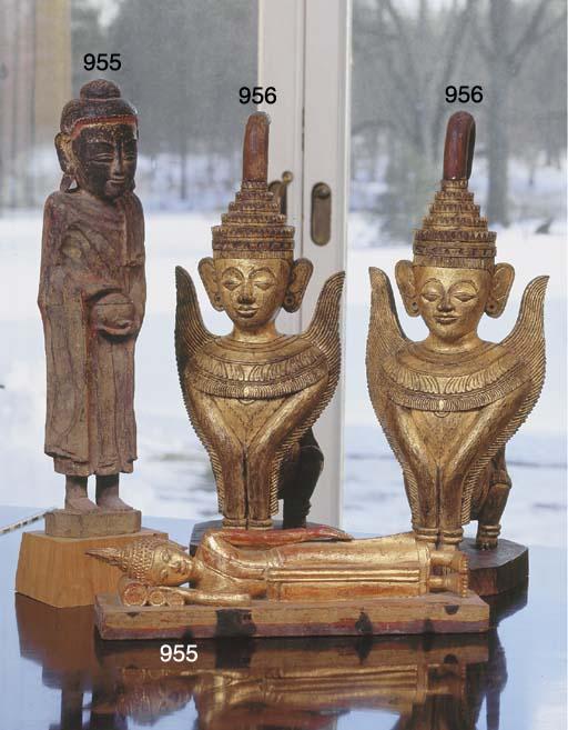 Two Burmese Gilt-Wood Mythical