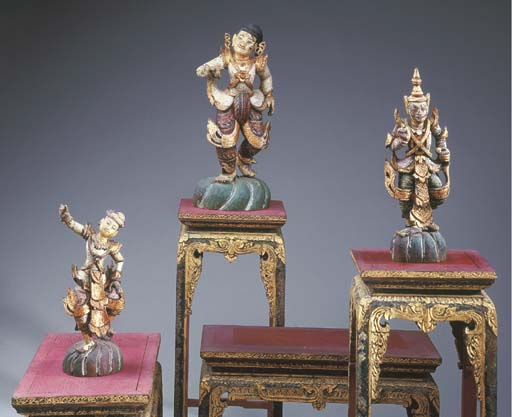 Three Thai Polychromed and Gil