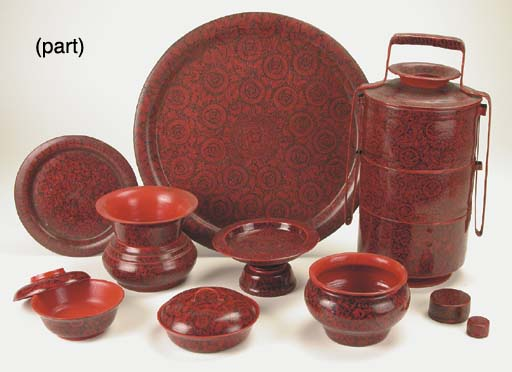 A Set of Burmese Red Lacquerwa