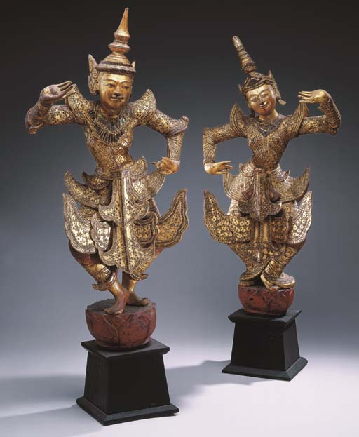 A Pair of Burmese Gilt-Wood Da