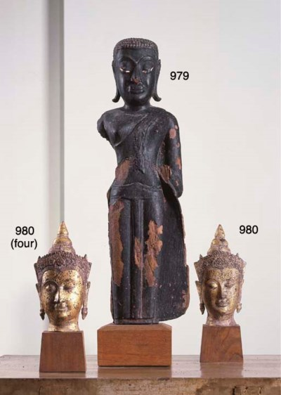 Four Thai Gilt-Bronze Buddha H
