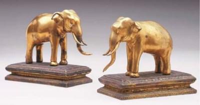 A Pair of Thai Gilt-Bronze Ele