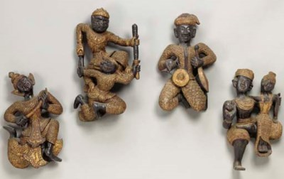 Four Thai Wood Figures of Nats