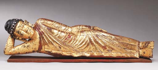 A Burmese Gilt and Lacquered-W