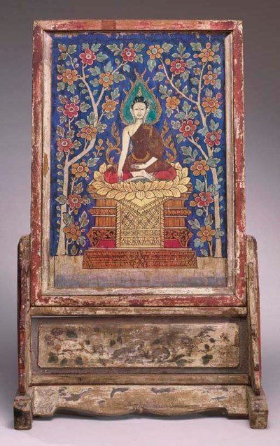 A Thai Painted-Wood Screen