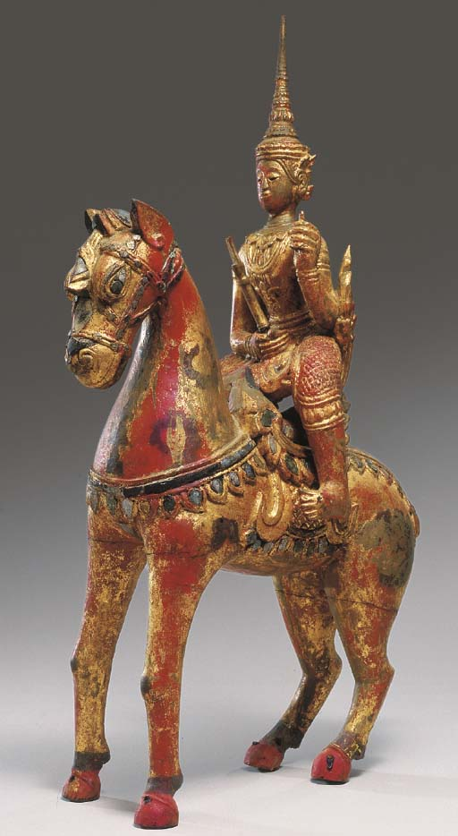 A Burmese Gilt and Red-Lacquer