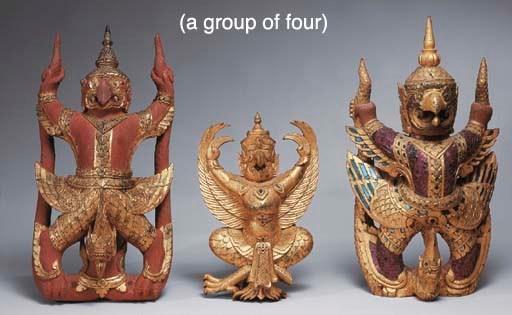 Four Thai Carved Gilt and Poly