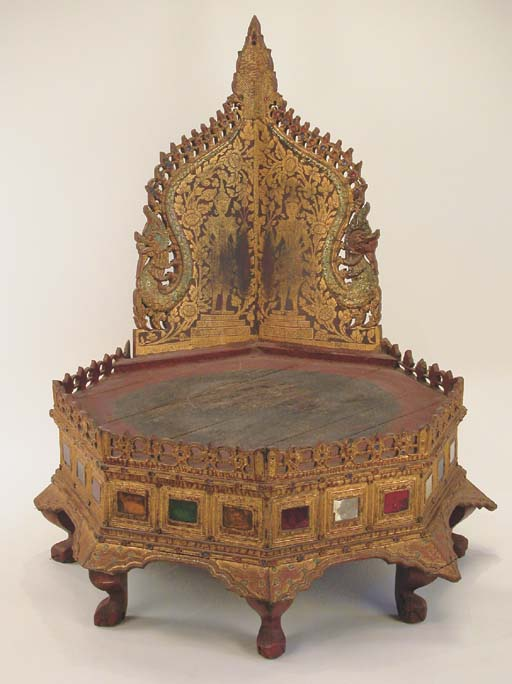 A Thai Painted and Gilt-Wood O