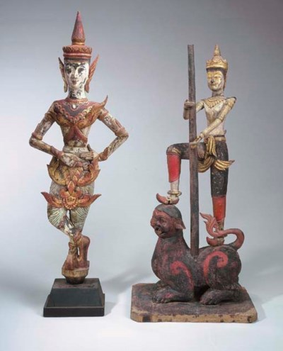 Two Burmese Polychromed-Wood F