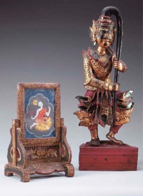 A Burmese Gilt Wood Figure of