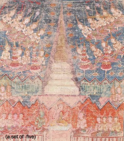 A Set of Five Thai Paintings
