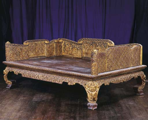 A Thai Inlaid and Gilt-Wood Be