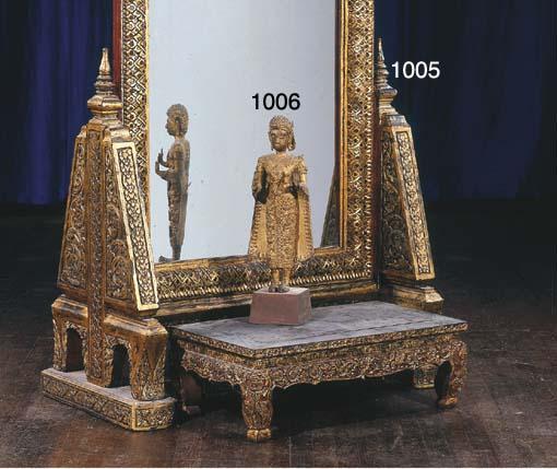 A Thai Gilt-Lacquered Bronze F