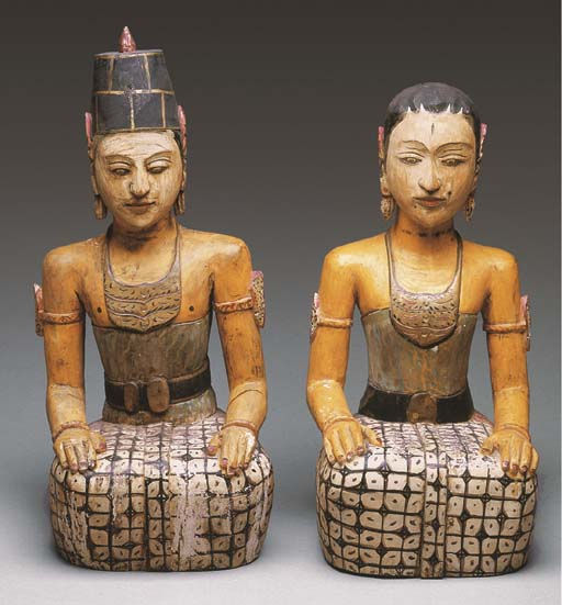 A Pair of Balinese Polychromed