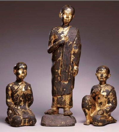 Three Thai Gilt and Lacquered-