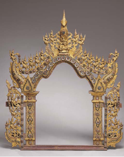 A Thai Carved Inlaid and Lacqu