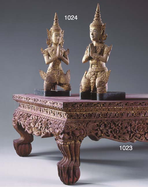 A Thai Red and Gilt-Lacquered