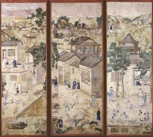 THREE CHINESE WALLPAPER PANELS