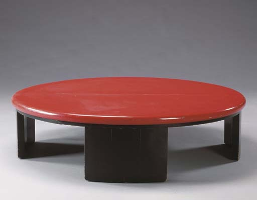 A RED AND BLACK-LACQUER COFFEE