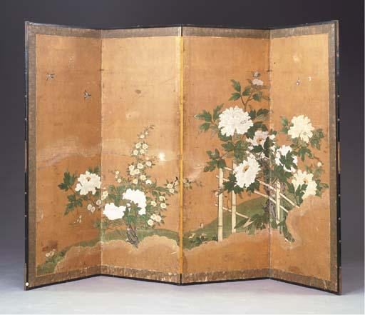 A JAPANESE FOUR-PANEL SCREEN O