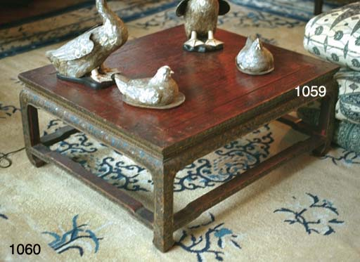 A CHINESE MICA-INLAID AND RED-