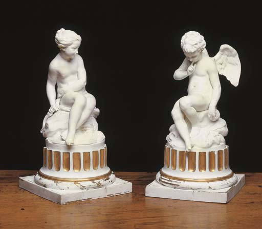 A PAIR OF SEVRES BISCUIT PORCE