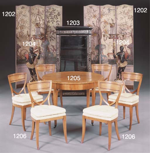A SET OF SIX BALTIC ASH DINING