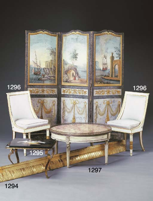 A PAIR OF ITALIAN WHITE-PAINTE