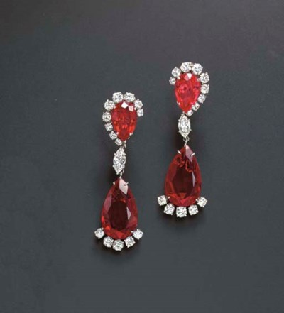 A PAIR OF SYNTHETIC RUBY AND D