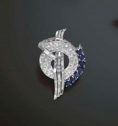 A RETRO DIAMOND AND SAPPHIRE B
