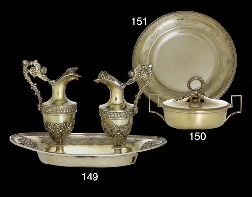 A FRENCH EMPIRE SILVER-GILT PL