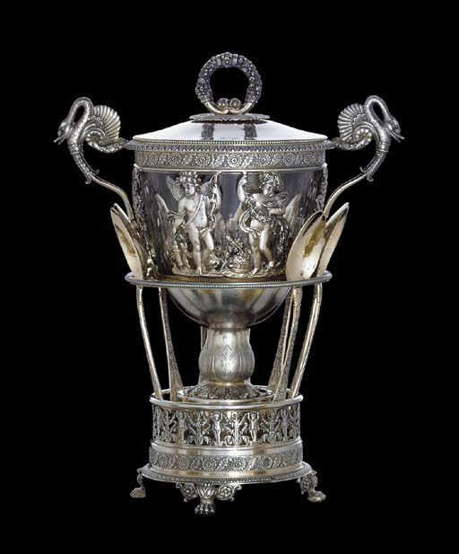 A FRENCH SILVER-GILT COVERED S