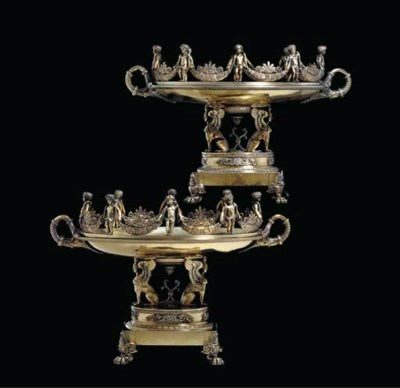 A PAIR OF FRENCH SILVER-GILT D